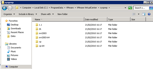 Location of Sysprep Files When you Install vCenter on a
